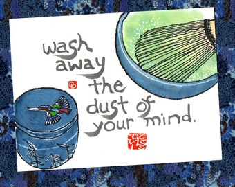 Tea Ceremony Mind (Etegami original, Japan Art)