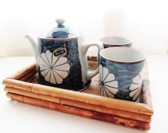 Vintage Utsuwa-No-Yakata Tea Set, Japanese Porcelain Tea Set, Blue and White Teapot and Cups, Tea for Two