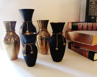 Brass Vase Collection, Black Brass Vases, Hollywood Regency, Set of Five, Rope and Bow Vases