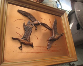 Mark Down!!Vintage John Louw 3D Copper Art Framed Seagulls in Flight Signed by Artist