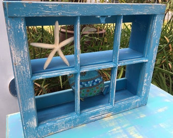 Window Wall Cabinet Over the Toilet Shelf Vintage Beach House Style by CastawaysHall - Ready to Ship