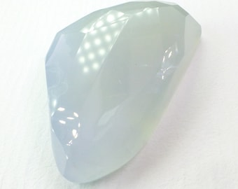 XXL Natural Blue Chalcedony Faceted Cabochon. AAA Quality. Translucent Grayish Periwinkle. Micro Facet. 1 pc. 47 cts. 24x34x7 mm (CH579)