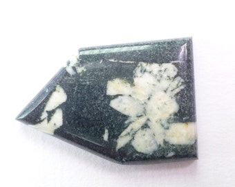 Chinese Writing Stone. Kanji. Floral Pattern. Porphory. Limestone Matrix with Andalusite Crystals. 1 pc. 38.70 cts. 37x25x4 mm (PJ335)