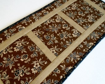 Primitive Quilted Table Runner, Quilted Table Topper, Mini Quilt, Coffee Table Runner, Civil War, Historical, Black Brown Tan