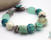 Summer in Greece - Gorgeous unique bracelet in turquoise, silver and white with handmade enameled clasp, ceramic and lampwork bead