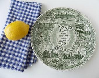 Vintage Indiana The Hoosier State Green Transferware Plate. Souvenir Memorabilia. Collectible Americana. Rustic Country Farmhouse Decor.