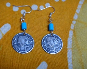 Pharaoh Charm Turquoise Beaded Earrings Zen Jewelry Ancient Egyptian King Tut