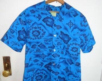 Blue Hawaii Novelty Print HAWAIIAN Vintage 1950's 1960's Men's Summer Shirt M