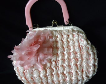 Small PINK Woven Raffea Straw Vintage 1950's Women's Handbag Purse