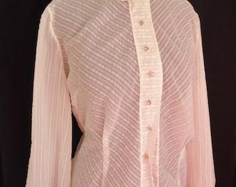 SHEER Chevron Striped Nylon Vintage 1950's Women's Valentine's Blouse Shirt M L