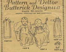 Antique Baby Gown Pattern Butterick Design 4447 Pattern and Deltor Infants' One Piece Dress  1919 unused Beautiful Christening Gown Pattern