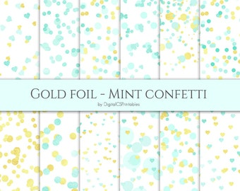 Confetti digital paper Mint and gold digital paper Gold and mint confetti Dot digital paper Heart confetti mint Wedding digital paper