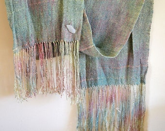 Pastel Ombre Scarf, Hand Woven Ikat Scarf, Turquoise Green to Lilac Hand Painted Silk Rayon, Silky Scarf, Lightweight Scarf, Gift for mom