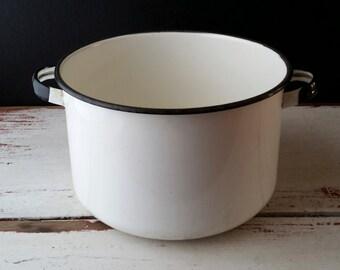 Vintage white and black enamelware pot, black and white enamelware, metal black and white pot