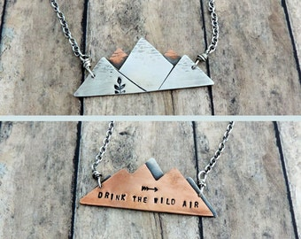 Mountain Range Necklace - Drink the Wild Air - Mixed Metal Mountain Necklace - Nature Quote Jewelry - Outdoor Gift