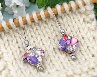 Stitch Markers, Knitting, Mosaic Stone, Snag Free, Purple Red, Jeweled Tool, Knitting Accessory, Knitting Tool, Handmade, Gift for Knitters