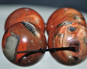4 Pieces 16mm Artful Confetti~Brecciated RED FLAME JASPER Large Round Beads - A0985