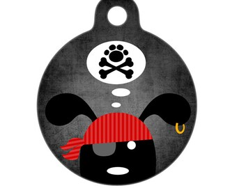 Pet ID Tag - Pirate Dog with Paw and Crossbones Pet Tag, Dog Tag, Cat Tag, Luggage Tag, Child ID Tag