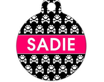 Personalized Pet ID Tag - Sadie Paw and Crossbones Custom Name Pet Tag, Dog Tag, Cat Tag, Child ID Tag