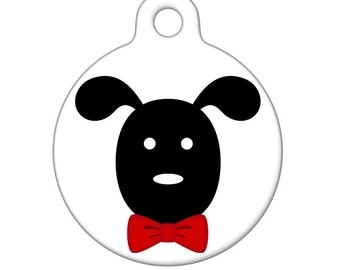 Pet ID Tag - Dog With Red Bowtie Pet Tag, Dog Tag, Child ID Tag
