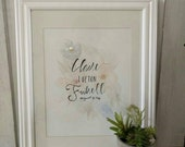 Watermark Floral Baby Name Painting 8x10 with Metallic Accents