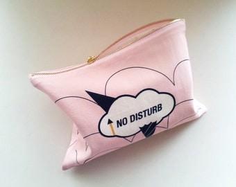 Zipper Pouch-NO DISTURB(pink)