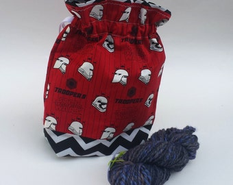 Knitting Crochet Project Bag, Medium Drawstring, Star Wars fabric, Red or White