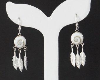 Sterling Silver Dreamcatcher Earrings, Shiva Shell Earrings, Sterling Silver Hooks, Feather Earrings, Birthday Gift, Mother's Gift