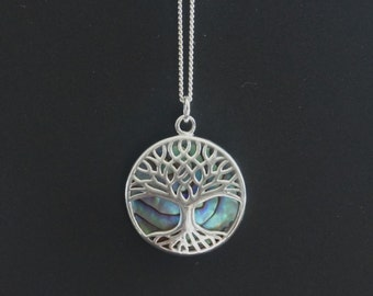Tree Necklace, Tree of Life, Family Tree, Sterling Silver, Mother of Pearl, Seashell, Birthday Gift, Mother's Day Gift