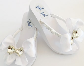 "Bridal FLip Flops/3"" WEDGES.White Wedding Flip Flops.Wedding Shoes.Bridal Shoes.Rhinestone Bridal Shoes.Beach Wedding.High Wedges.!"