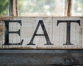 tiny farmhouse kitchen sign, rustic EAT sign, farmhouse kitchen decor, neutral style kitchen, cottage kitchen
