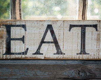 tiny farmhouse kitchen sign, rustic EAT sign, farmhouse kitchen decor, neutral style kitchen, cottage kitchen