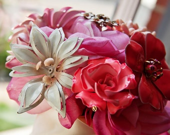 Brooch Bouquet - Custom Small Modern Domed Brooch and Jewelry Bouquet - Silk Flowers & Jewelry Mix | Bridal Bouquet Bridesmaid | USA