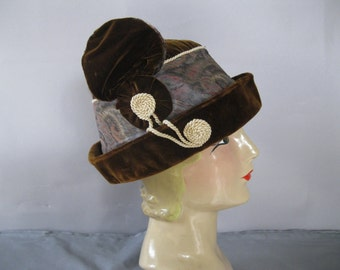 Edwardian Brown Velvet Toque Hat - Titanic Paisley Silk Band Cloche Hat
