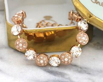 Rose Gold Bracelet, Bridal Bracelet, Swarovski Bracelet, Rose Gold, Tennis Bracelet, Bridesmaids Bracelet, Crystal Bracelet, Christmas Gift