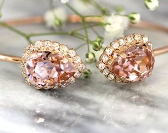 Blush Bracelet, Blush Pink Bridal Bracelet, Bridal Rose Gold Bracelet, Bangle Gold Bridal Bracelet, Bridesmaids Gifts, Dusty Pink Bracelet