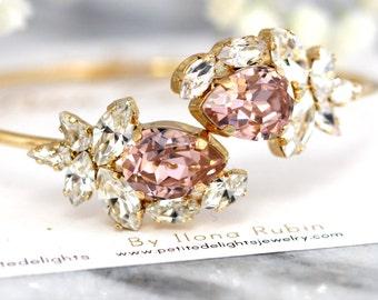 Blush Bridal Bracelet,Blush Champagne Crystal Bracelet, Swarovski Bracelet, Gift for her, Rose Gold Cuff Bracelet,Blush Crystal Bracelet
