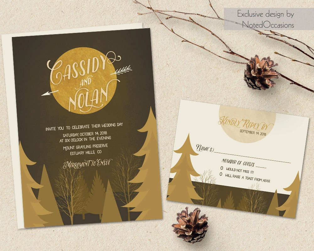 Fall Wedding Invitations Rustic Wedding Harvest Moon And Trees