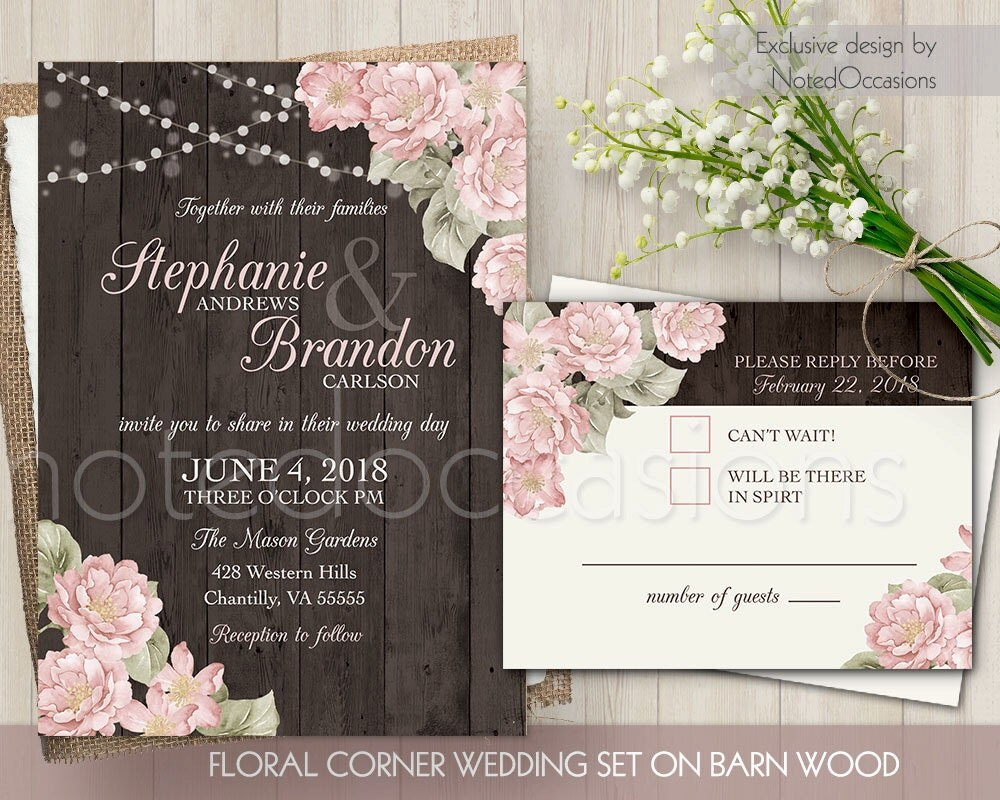 Printable Wedding Invitation Sets: Rustic Wedding Invitation Set Printable Blush Wedding