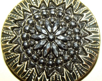 Antique Button Metal w/ lustered Black Glass Center