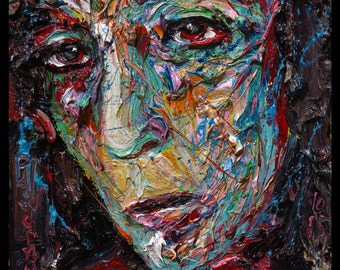 SOLD - Oil Painting 12 by 12 by 75 in. / original oil painting modern abstract art odd nyc ny female girl portrait pop