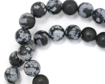 Snowflake Obsidian Beads - Matte Finish - 6mm Round - Limited Quantity