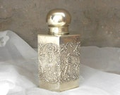 Antique Tea Caddy Silverplated EPS Hexagon Repousse with Colonial Era Figures Elegant Home Decor Canister