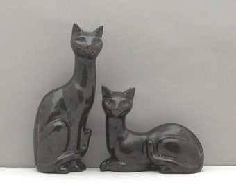 Vintage Mid Century Pottery Cat Pair Ceramics Brown Black Mottled Glaze