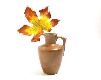 Vintage Ceramic Pitcher Jug Frankoma 838 ca. 1960s Brown Rustic Cabin Home Decor Vase or Candleholder