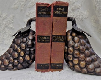 Heavy Uncommon Vintage~GRAPE BOOKENDS~Super Heavy~Intricate Design~Made in INDIA