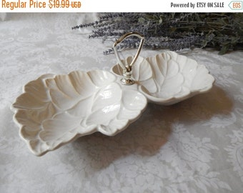 DISCOUNTED Vintage OPALESCENT Leaf Pottery Serving Dish~Chrome Handle~Made in the USA