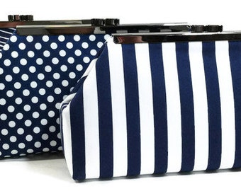 Bridesmaids Clutches Weddding Clutch Personalized Clutch Choose Your Fabric Navy Blue Set of 4
