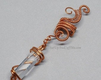 Summer Sale - 10% off - Copper Ear Cuff, Woven Copper Ear Wrap with Quartz Crystal Point  - RIGHT ear only