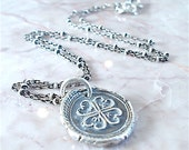 GOOD LUCK Charm, Four Leaf Clover, WAXSEAL Necklace . Reversible  Sterling Silver Necklace . Irish Gift, Ireland Forever